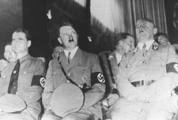 (Left to right) Deputy Führer Rudolf Hess, Hitler, and Gauleiter Julius Streicher.