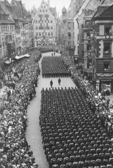 Nazi parade through Nuremberg.