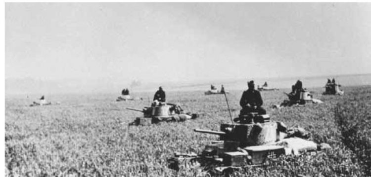 Wehrmacht tanks quickly advancing across the Russian steppes.