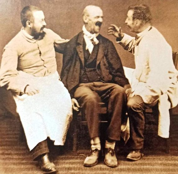 Chemical Cosh - A mentally disturbed patient and two wardens at an insane asylum in 1891. With the advent of barbiturates, one preferred method of dealing with deeply disturbed patients was to sedate them heavily.