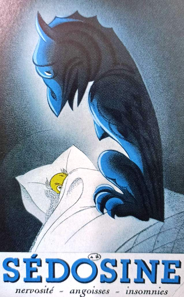Help to Sleep - A French advertisement of 1937 for Sedosine, a sedative for the nervous system based on plant extracts.