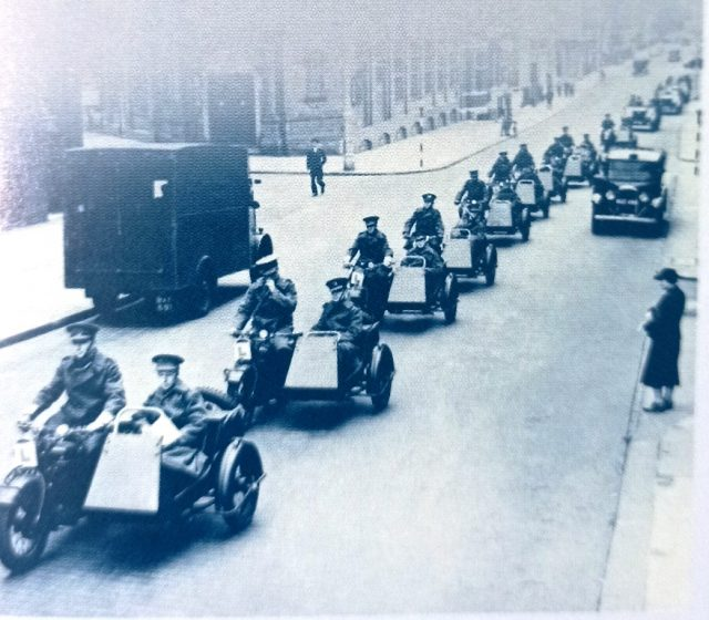 The rugged motorcycle and sidecar, which could negotiate all terrains, saw widespread service in both world wars.