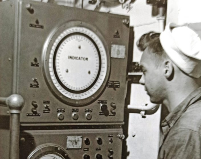 History of Sonar - A sonar operator is on an American submarine in the Second World War.