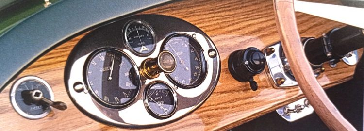 Noble Marque – In the Bugatti Type 38 roadster, the speedometer and other instruments were set into a fine walnut dashboard.