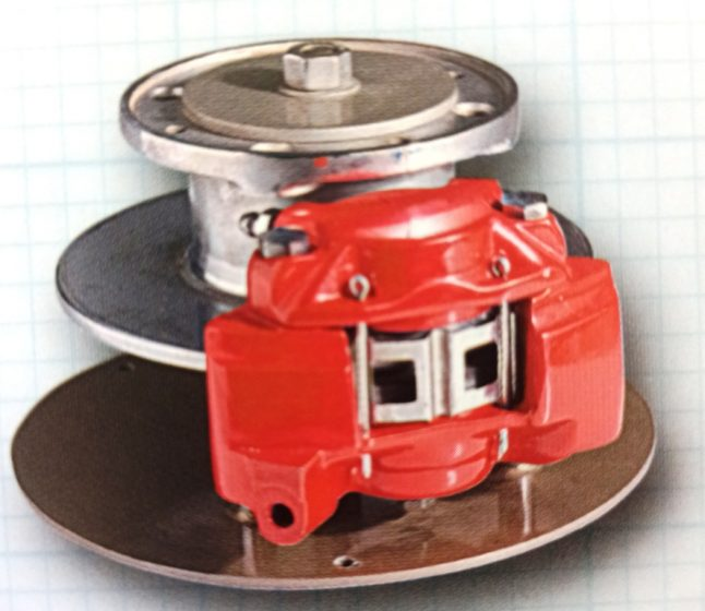 A disc brake from around the 1960's when discs were fast replacing the older drum brake system in cars.