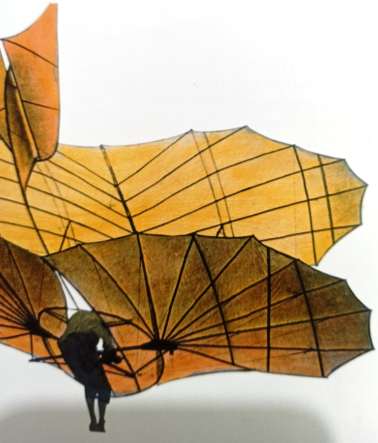 Conquest of the Skies - Otto Lilienthal piloting one of his many glider designs in 1891. This influential aeronautical pioneer was interested in bird flight, writing a book on the subject in 1889.